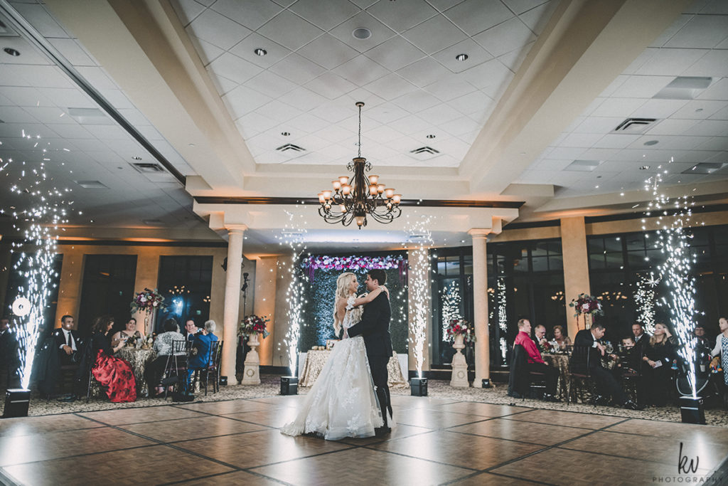 Indoor Sparkler Fountain Wedding