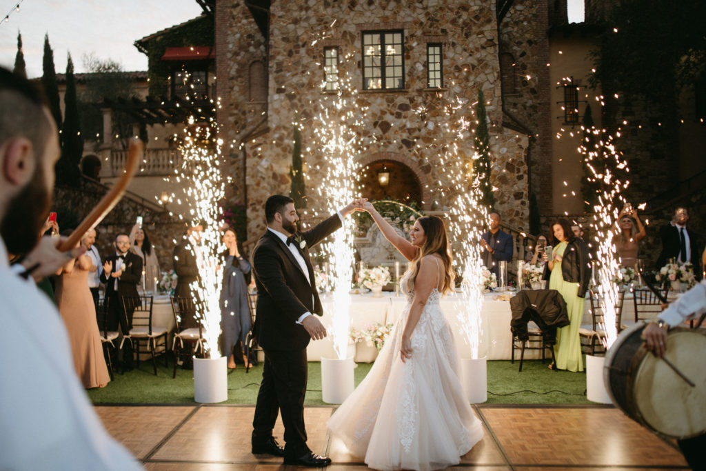 First Dance with Sparkler Boxes